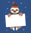 winter greeting card with sloth vector image vector image