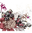 with colorful butterflies and peony flowers vector image