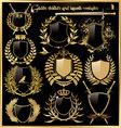 golden shields and laurel wreaths vector image