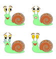 A funny snail expressing different emotions vector image vector image