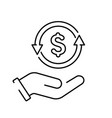 a simple linear cashback or money back icon vector image vector image