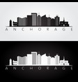 anchorage usa skyline and landmarks silhouette vector image vector image