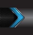 blue glossy arrow grey metallic circle mesh vector image vector image