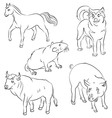 bull dog horse pig rat vector image