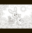 bunny and chick with an easter basket vector image