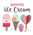 cartoon ice cream set cones and cute icecream in vector image vector image