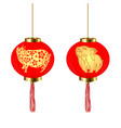 chinese new year two red round chinese lanterns vector image vector image