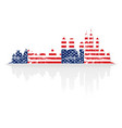 city skyline in colors of usa flag vector image vector image