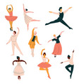 Collection of ballet dancers men and women