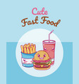 cute fast food kawaii cartoon vector image