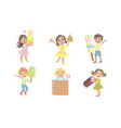 cute kids eating sweet desserts set happy boys vector image vector image