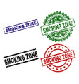 damaged textured smoking zone seal stamps vector image vector image