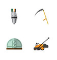 flat icon dacha set of cutter lawn mower pump vector image vector image