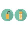 flat orange juice glass and orange juice bottle vector image