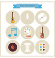 Flat School Arts and Music Icons Set vector image vector image