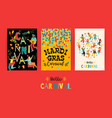 hello carnival templates for mardi gras vector image vector image