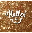 hello lettering on gold vector image vector image