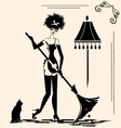 housewife and a broom vector image vector image