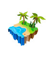 isometric nature landscape with water sandy shore vector image