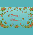 merry christmas holly berry mistletoe twigs vector image vector image