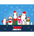 Merry Christmas penguin wear Santa hat holding vector image vector image