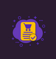 online order purchase completed e-commerce icon vector image vector image