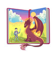 open book of fairytales with knight and dragon vector image