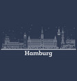 outline hamburg germany city skyline with white vector image vector image