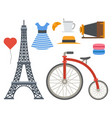 paris icons famous travel cuisine vector image vector image