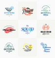 premium quality retro seafood signs or logo vector image