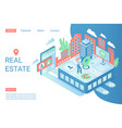 real estate landing page isometric template vector image