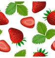 ripe juicy strawberry with leaf isolated seamless vector image vector image