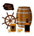 rum set alcohol helm barrel shots rum bottle flat vector image vector image