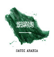 saudi arabia flag watercolor painting design vector image