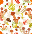 Seamless texture with forest mushroom vector image vector image