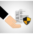 security concept hand with document vector image vector image