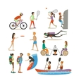 set of characters summer outdoor vector image vector image
