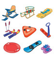 set winter sleds on white background vector image vector image