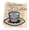 Spiced latte or coffee in cup on vintage vector image