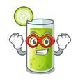 super hero cucumber juice in a cartoon glass vector image