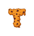 t letter cookies cookie font oatmeal biscuit vector image vector image
