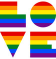 the word love created by the lgbt font vector image