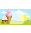two ice cream design on natural background vector image vector image
