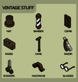 vintage stuff color outline isometric icons vector image vector image