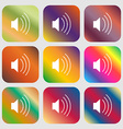 volume sound icon Nine buttons with bright vector image