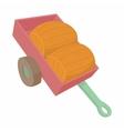 Wheelbarrow with two wooden barrels icon vector image vector image