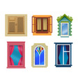 windows cartoon modern retro flat elements set vector image