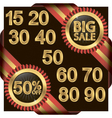 Big sale set golden label with ribbons vector image