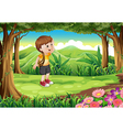 A boy at the forest with a rope at his arm vector image vector image