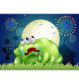 A tired green monster at the carnival vector image